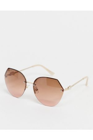 Lipsy London Sunglasses - Oversized hexagon sunglasses with pearl detail-Gold