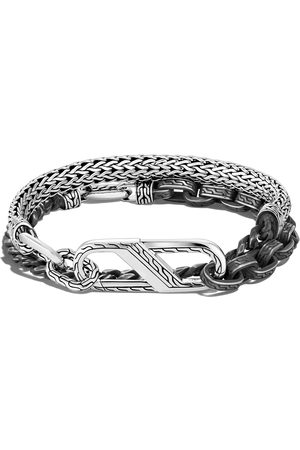 John Hardy Men Bracelets - Classic Chain' Large Carabiner Clasp Double Wrap Oxidised Silver Bracelet