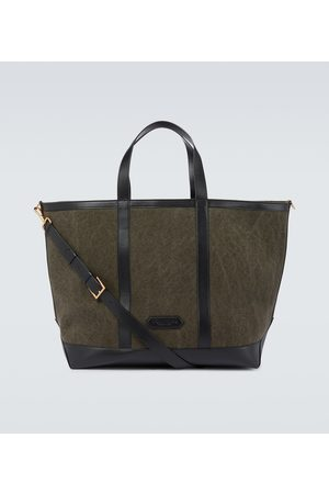 Tom Ford Men Tote Bags - Canvas and leather tote bag