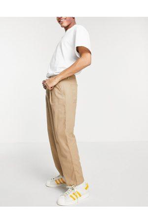 ASOS Wide leg pants with pleats in beige linen mix-Neutral