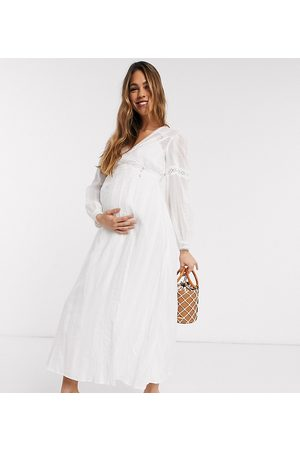 ASOS ASOS DESIGN Maternity lace insert wrap maxi dress in white