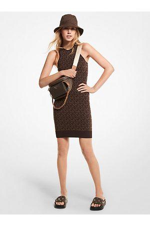 Michael Kors Women Casual Dresses - MK Logo Jacquard Tank Dress - Chocolate - Michael Kors
