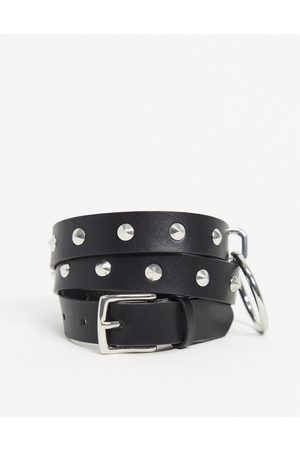 ASOS Skinny belt in black faux leather with studs and ring detail