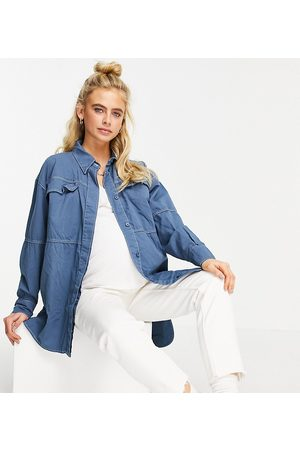 Topshop Oversized contrast stitched casual shirt in blue