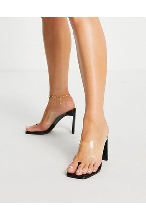 ASOS Narnia toe thong heeled sandals in black/clear