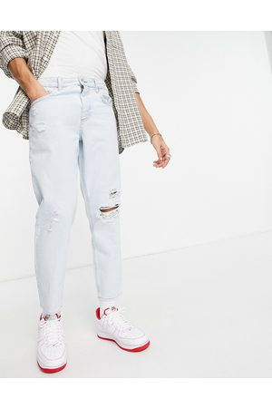 ASOS Classic rigid jeans in pale blue with rips