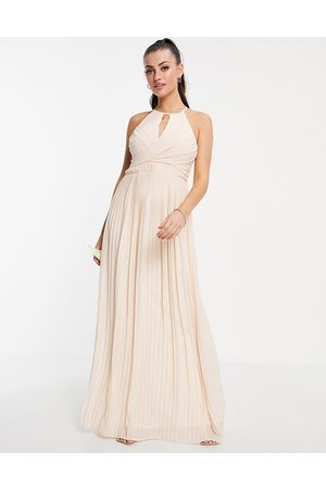 TFNC Bridesmaid pleated wrap detail maxi dress with cut-out in light blush-Grey