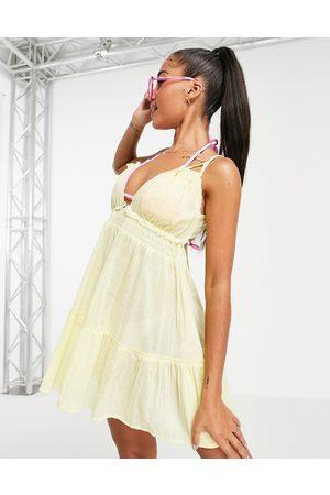 ASOS DESIGN Tiered skinny-tie beach dress in yellow