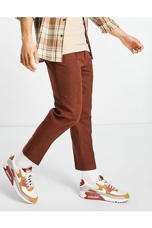 ASOS Tapered wool mix smart pants in rust