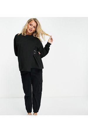 ASOS Sweaters - ASOS DESIGN Maternity nursing wrap detail sweat in black