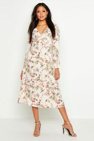 Boohoo Tall Floral Print Wrap Midi Dress- Ivory