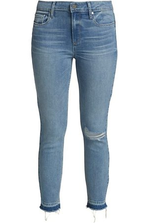 Paige ONLY AT SAKS. Verdugo Distressed Mid-Rise Crop Skinny Jeans