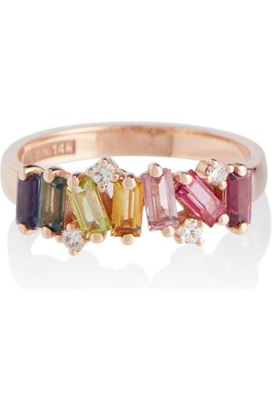 Suzanne Kalan Women Rings - Rainbow 14kt rose ring with diamonds and sapphires