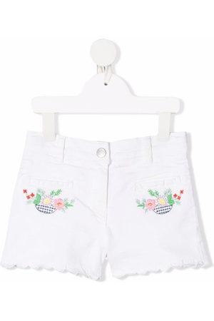 Stella McCartney Floral-embroidered denim shorts