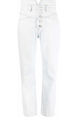 12 STOREEZ Women High Waisted - High-waisted straight leg jeans