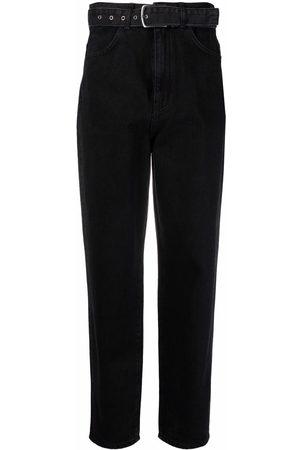 12 STOREEZ Belted-waist denim jeans