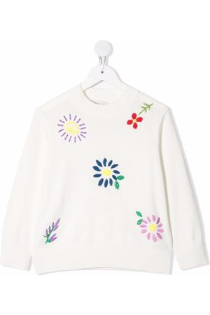 Stella McCartney Girls Sweaters - Floral embroidered jumper