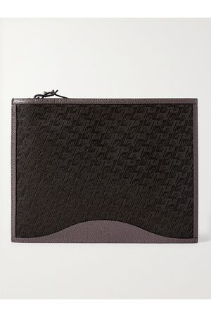 Christian Louboutin Men Wallets - Logo-Jacquard Coated-Canvas and Full-Grain Leather Pouch