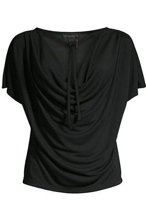 Donna Karan Tie-Front Cowl-Neck T-Shirt