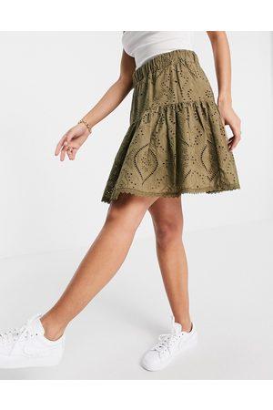 Y.A.S Women Mini Skirts - Broderie mini skirt in khaki-Green
