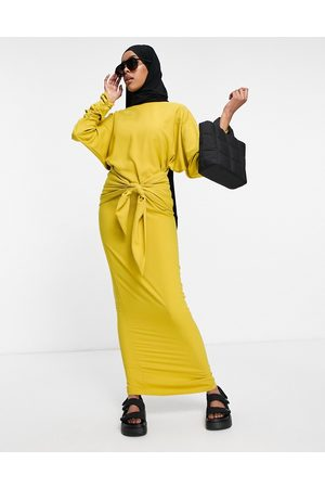 ASOS DESIGN Women Maxi Dresses - Maxi dress with gathered cuff and tie front detail-Gold