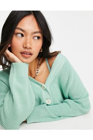 People Tree Cardigans - Relaxed cardigan in pastel mint green organic cotton