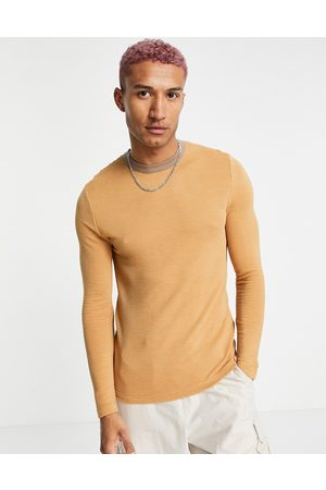 ASOS Long Sleeve - Muscle fit t-shirt with contrast ringer in beige-Neutral