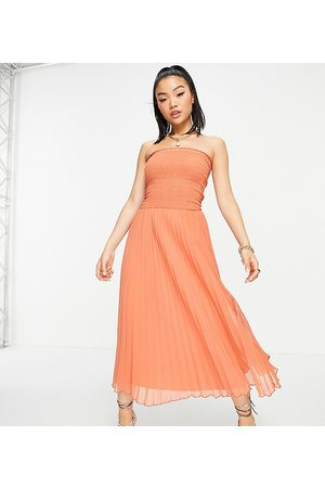 ASOS Women Maxi Dresses - ASOS DESIGN Petite bandeau pleated maxi dress in rust-Red