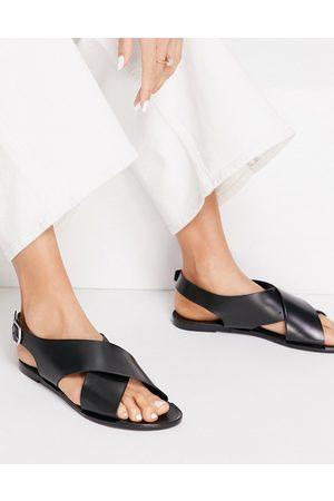 London Rebel Sandals - Sling back jelly sandals in black