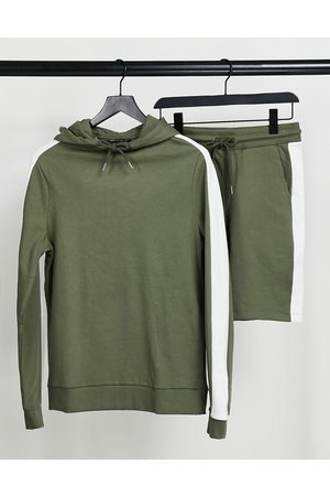 ASOS Hoodies - Organic tracksuit with hoodie & shorts with side stripe in khaki-Green
