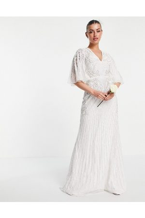 ASOS Women Party Dresses - Eliza flutter sleeve embellished wedding dress-White