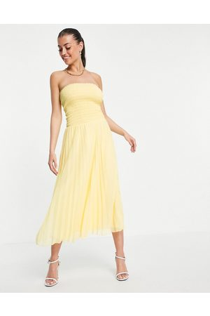 ASOS Bandeau pleated maxi dress in yellow