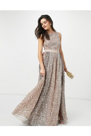 Maya Allover contrast tonal delicate sequin dress with satin waist in taupe blush-Pink
