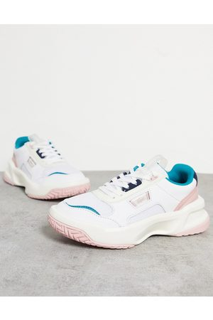 Lacoste Sneakers - Ace Lift chunky overlay trainers in white and pastel mix