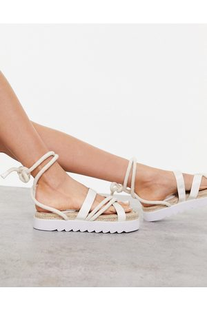 Truffle Collection Sandals - Chunky tie leg espadrille sandals in beige-Neutral