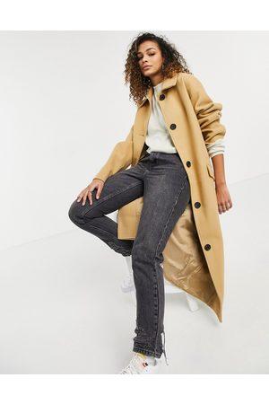 ASOS Boyfriend chuck-on overcoat in camel-Neutral