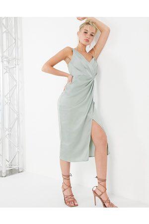 Little Mistress Satin wrap midi dress in sage green