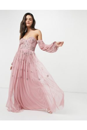 Maya Women Maxi Dresses - Bardot long sleeve tulle maxi dress with tonal delicate floral sequin in rose pink