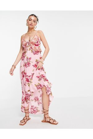River Island Plunge floral midi beach dress in pink