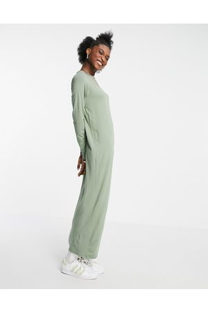 ASOS Long sleeve maxi t-shirt dress in sage green