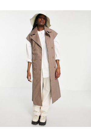 Object Organic cotton sleeveless trench coat in brown