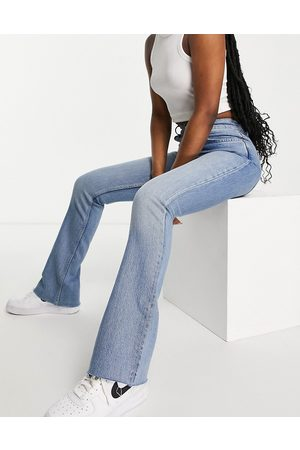 ASOS High rise 70s stretch flare jeans in light wash-Blue