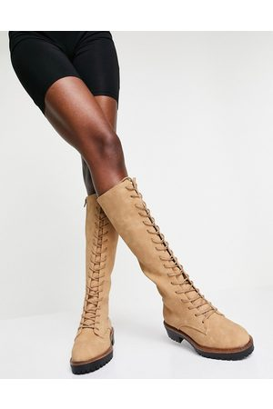 ASOS Courtney chunky lace-up knee high boots in sand-Neutral
