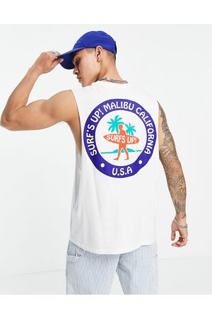 ASOS Relaxed singlet in white organic cotton with Malibu back print