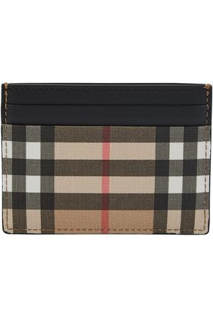 Burberry Men Wallets - Vintage Check E-canvas and Leather Card Case