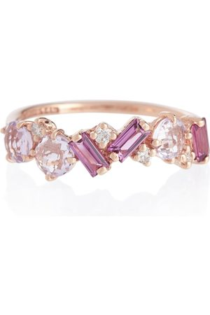 Suzanne Kalan Women Rings - Amalfi 14kt rose gold ring with diamonds, rhodolite and amethyst