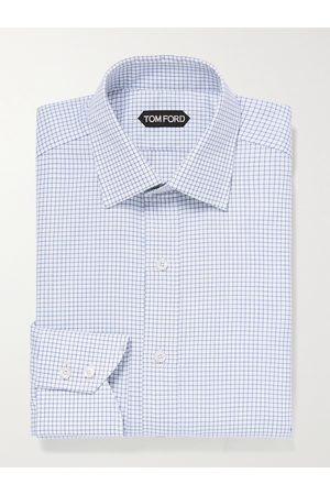 Tom Ford Slim-Fit Cutaway-Collar Checked Cotton Shirt