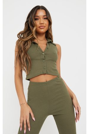 PRETTYLITTLETHING Khaki Ribbed Collar Detail Sleeveless Button Front Top