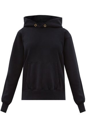 Les Tien Brushed-back Cotton Hooded Sweatshirt - Womens - Navy