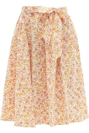 Thierry Colson Java Pleated Floral-print Waist-tie Cotton Skirt - Womens - Print